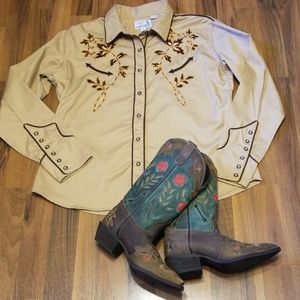 Panhandle Slim Retro Western Wear Snap Front Shirt